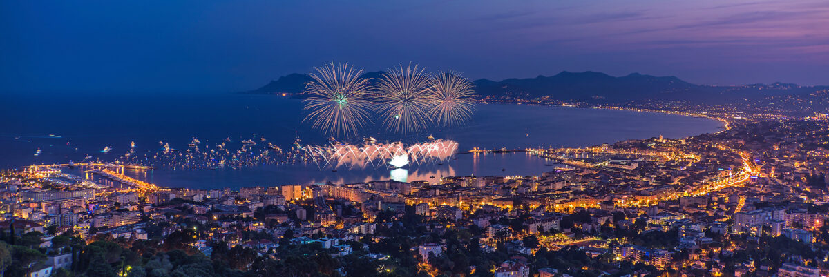 Cannes Fireworks Festival Panoramic View