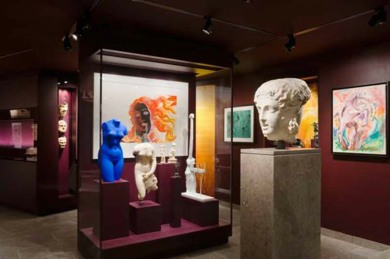 The classic and modern collections of artworks in the Musée d'Art Classique de Mougins is displayed side-by-side