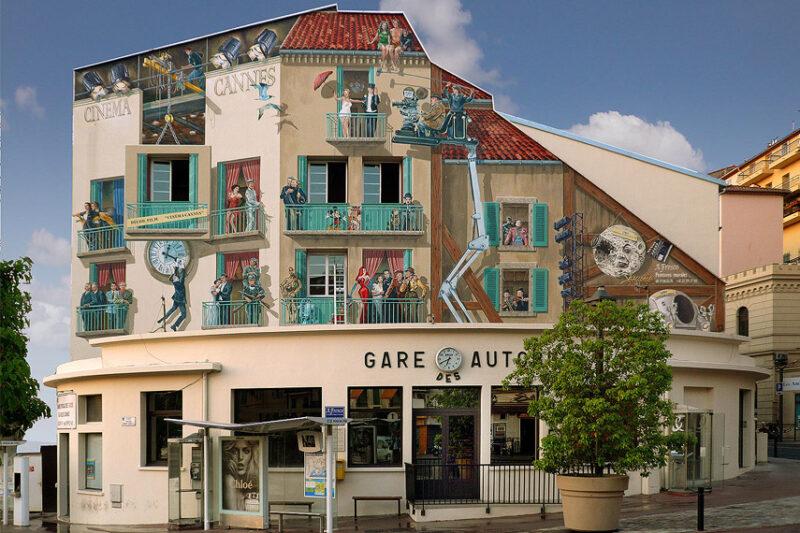 Mural paintings depicting years of cinema