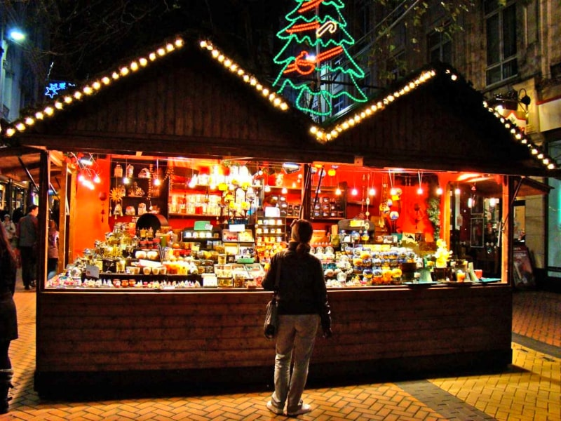 Christmas stall in Cannes, France