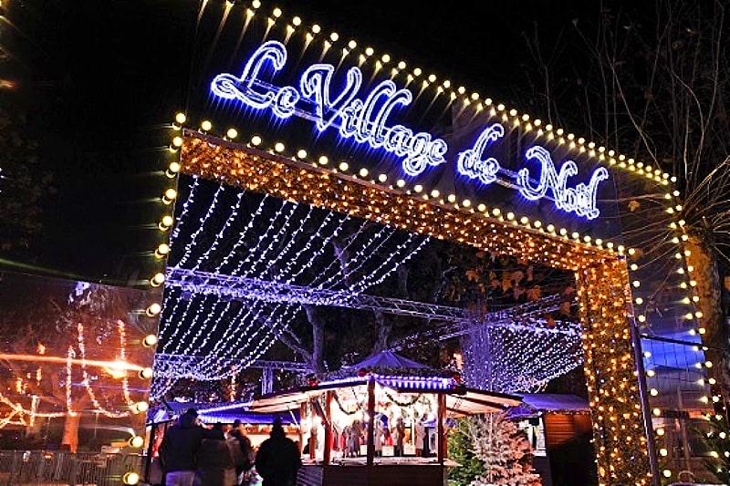 cannes christmas village entrance arch